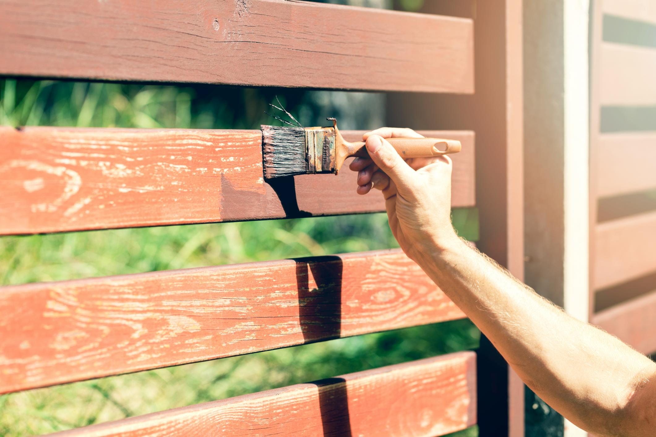 This is a picture of a fence staining.